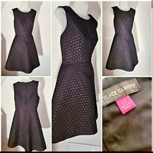 Vince Camuto Black Sleeveless Fitted Dress
